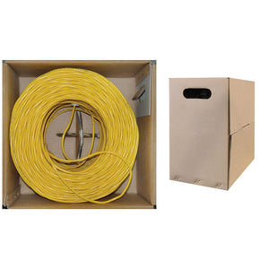 1000 Foot Bulk Cat5e Ethernet Cable, 24 AWG, ETL Listed, 4 Pair Solid Bare Copper, Foil Shielded Twisted Pair(STP) with Pull Box, Yellow, CableWholesale
