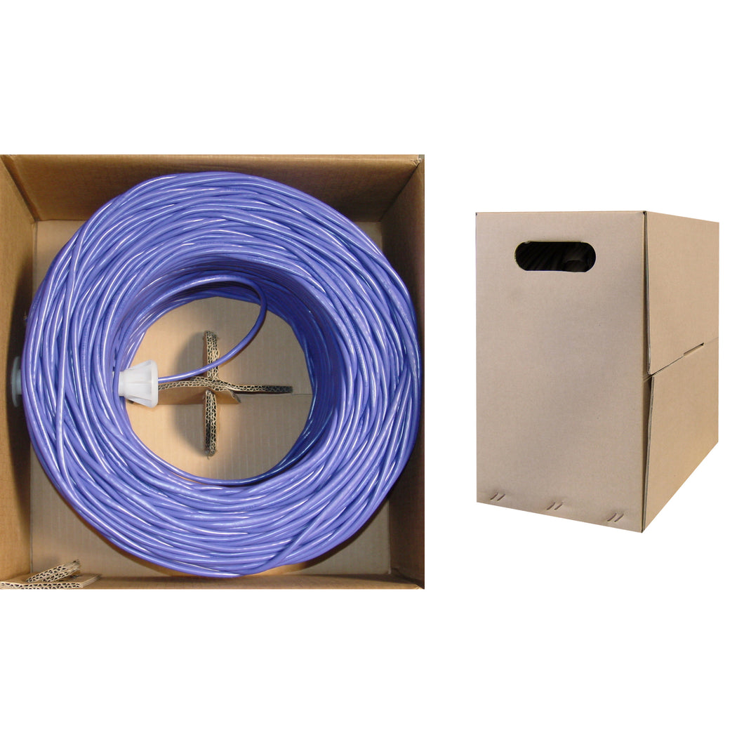 1000 Foot Bulk Cat6 Ethernet Cable, 24 AWG, 350 Mhz, ETL Listed 4 Pair Stranded Bare Copper, Unshielded Twisted Pair(UTP) with Pull Box, CableWholesale, Purple