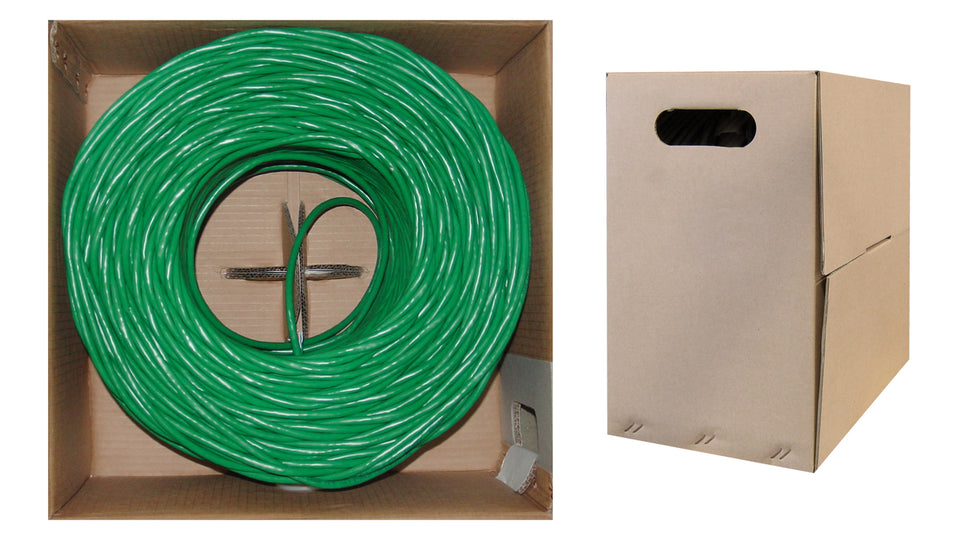 1000 Foot Bulk Cat6 Ethernet Cable, 24 AWG, 350 Mhz, ETL Listed 4 Pair Stranded Bare Copper, Unshielded Twisted Pair(UTP) with Pull Box, CableWholesale, Green