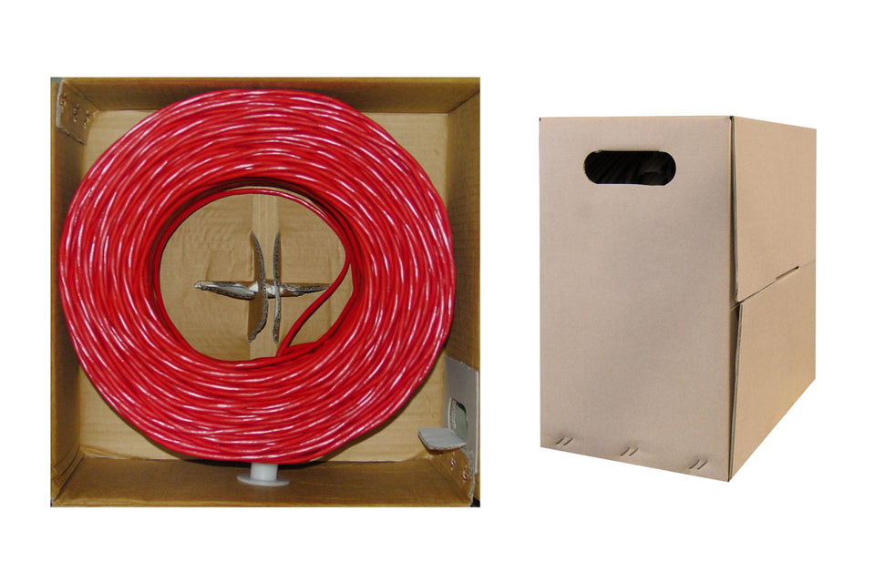 1000 Foot Bulk Cat6 Ethernet Cable, 24 AWG, 350 Mhz, ETL Listed 4 Pair Solid Copper, Unshielded Twisted Pair(UTP) with Pull Box, Red, CableWholesale