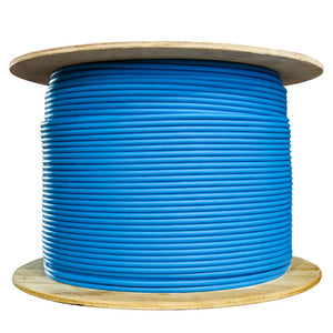 Bulk Shielded Cat6 Blue Ethernet Cable, Solid, Spool, 1000 foot