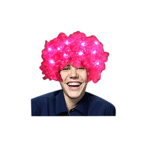 Blinkee Holiday Seasonal Pink Afro Wig with Flashing LEDs