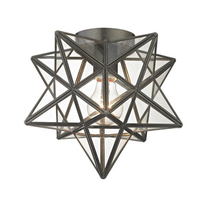 Elk Lighting 1145-005 Moravian Star 1-Light Flush Mount in Bronze with Clear Glass