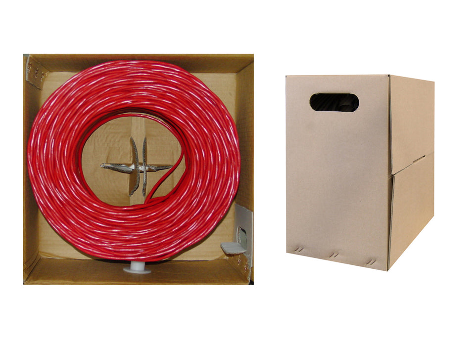 1000 Foot Bulk Cat5e Plenum Rated (CMP) Ethernet Cable, 4 Pair Solid Bare Copper, UTP (Unshielded Twisted Pair) with PullBox, CableWholesale Red
