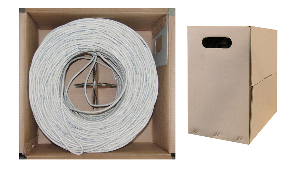 CAT6, UTP, Bulk Cable, Solid, 500MHz, 23 AWG, White, 1000 ft