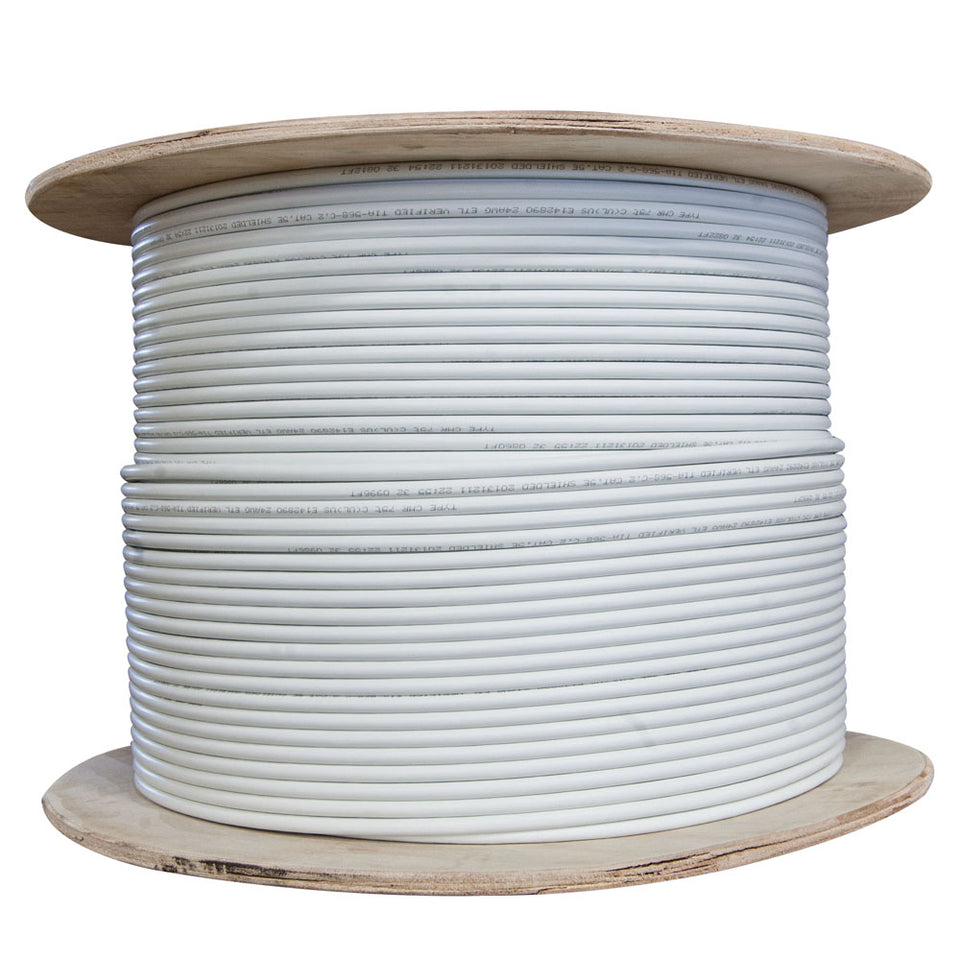 1000 Foot Bulk Cat6 Ethernet Cable, Plenum Rated (CMP), White Ethernet Cable, 23 AWG 4 Pair Solid Bare Copper, STP (Shielded Twisted Pair) 1000 Foot Spool, CableWholesale
