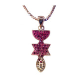 Wholesale Christian Gifts Menorah, Star & Fish Silver & Crystals Necklace - Pink