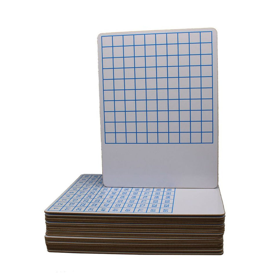 Flipside Products 12423 9X12 Hundreds Grid Dry Erase Board, Two-Sided Class Pack (Pack of 24)