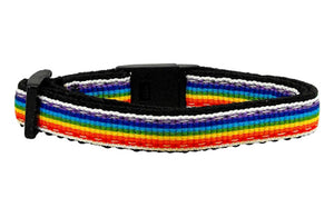 WSB Mirage Pet Products Pet Outdoor Training Adjustable Buckle Designed Breakaway Kitten Safety Lead Rainbow Striped Nylon Cat Collar