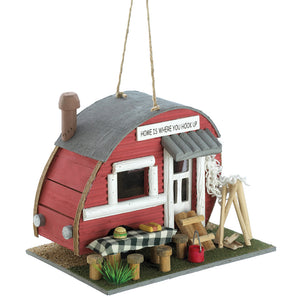 Outdoor Patio Porch Yard Garden Vintage Trailer Birdhouse Decorative Accent Christmas Gift