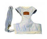 "Blue Stripe Dog Cloth with a Leash (Collar 7"" Belly Lenth 7.5"" Adjust belly 6"" - 12"")"