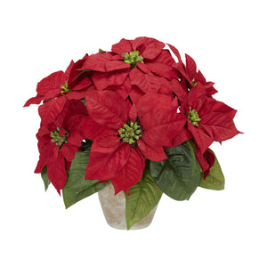 "Nearly Natural 1268 Poinsettia with Ceramic Vase Silk Flower Arrangement, Red,6.75"" x 6.75"" x 22.5"""