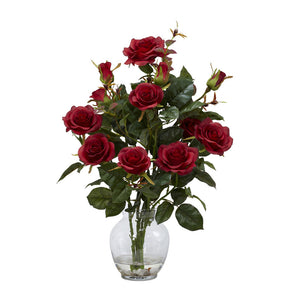 "Nearly Natural 1281-RD Rose Bush with Vase Silk Flower Arrangement, Red,6.75"" x 6.75"" x 22.5"""