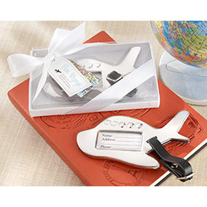 Bon Voyage Silver-Finish Airplane Luggage Tag box