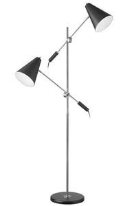 2-Light  Floor Lamp -  Matte Black Metal Shade