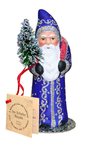 Alexander Taron Decorative Collectibles Schaller Paper Mache Candy Container - Santa Blue with Silver Stars