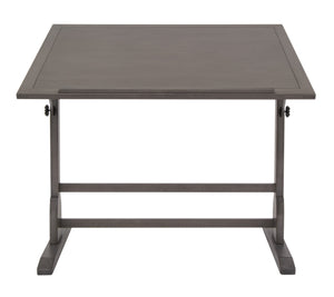 "SD Studio Designs Vintage Solid Wood Drawing/Drafting Table with 42"" x 30"" Angle Adjustable Top and Built-in Pencil Groove - Slate Gray"