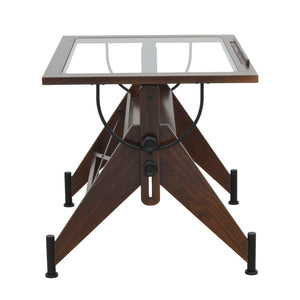 STUDIO DESIGNS Aries Glass Top Drafting Table Sonoma Dark Walnut Brown/Clear Glass
