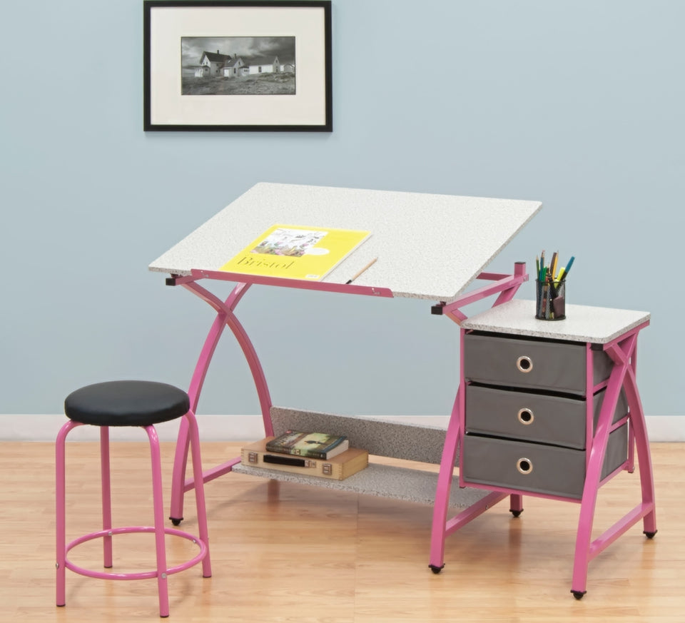 Comet Center with Stool Pink / Spatter Gray