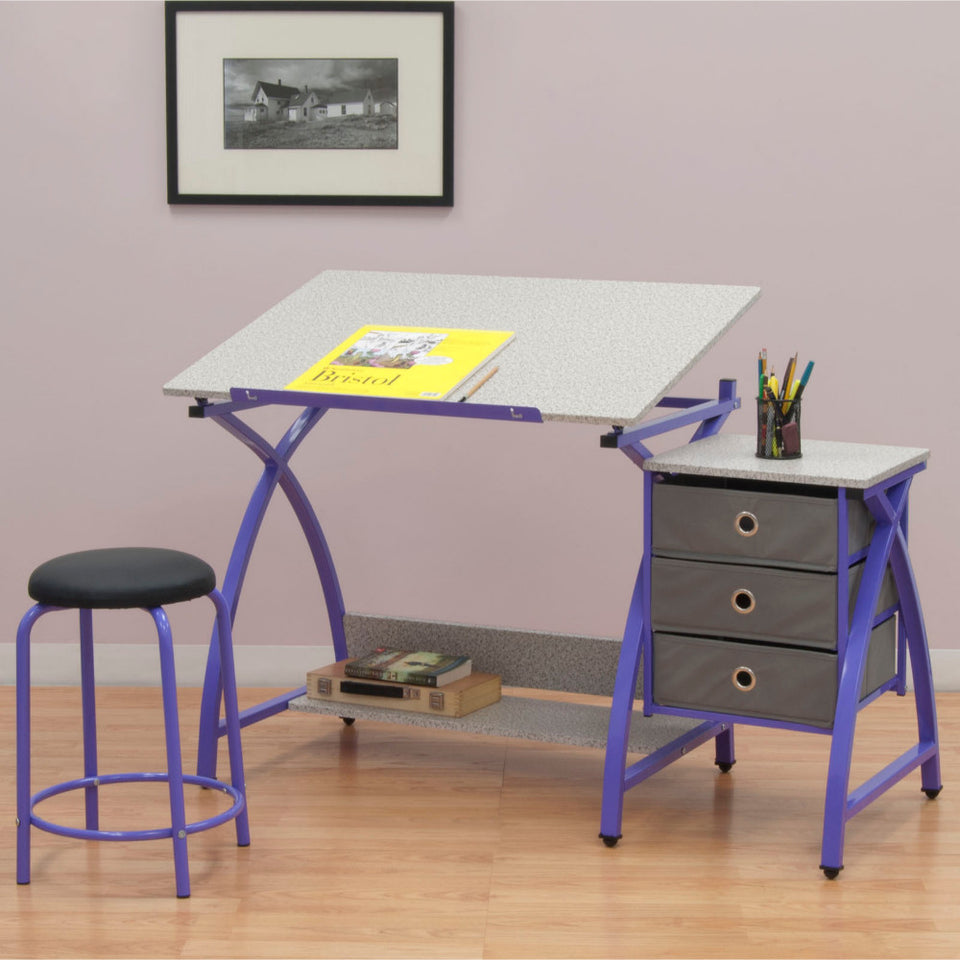 Studio Designs Home Office Furniture Comet Center with Stool Purple / Spatter Gray