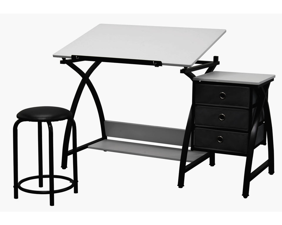 "SD Studio Designs 13326 Comet Center with Stool, Black/White, 50"" W x 23.75"" D x 29.5"" H"