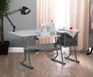 SD Studio Designs Eclipse Ultra Sewing Machine Table with Lower Storage Shelf - Gray, White