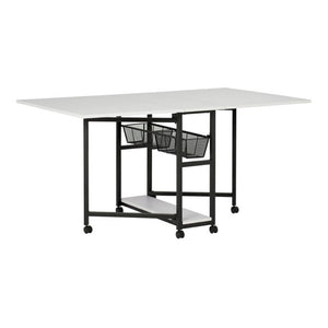 Sew Ready Fabric Cutting Table Multipurpose Hobby and Craft Mobile Table with Storage, Charcoal/White, 13377
