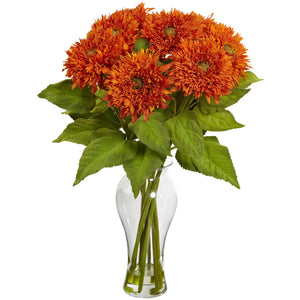 Nearly Natural 1360-OR Sunflower Arrangement with Vase, Orange