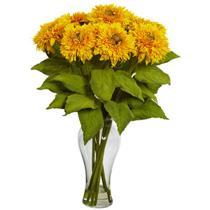 Nearly Natural 1360-YL Sunflower Arrangement with Vase, Yellow