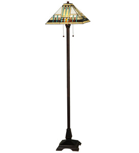"Meyda Tiffany 138129 Two Light Floor Lamp, 62"" Height, Finish: Mahogany Bronze"