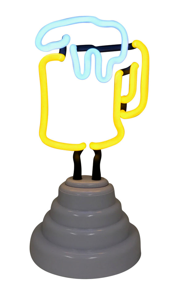 Battery-Operated Beer Mug Neon Light In White Base With An USB Cord