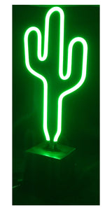 Electrical Neon Light With Cactus Design In Square Based