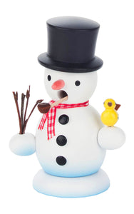 "Alexander Taron 146-724 Dregeno Incense Burner - Snowman with Bird - 4"" H x 2.75"" W x 2"" D, White"