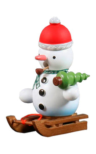 "Alexandor Taron Home Decor Dregeno Snowman on Sled Incense Burner 4.25""H x 2.75\""W x 3.25\"""
