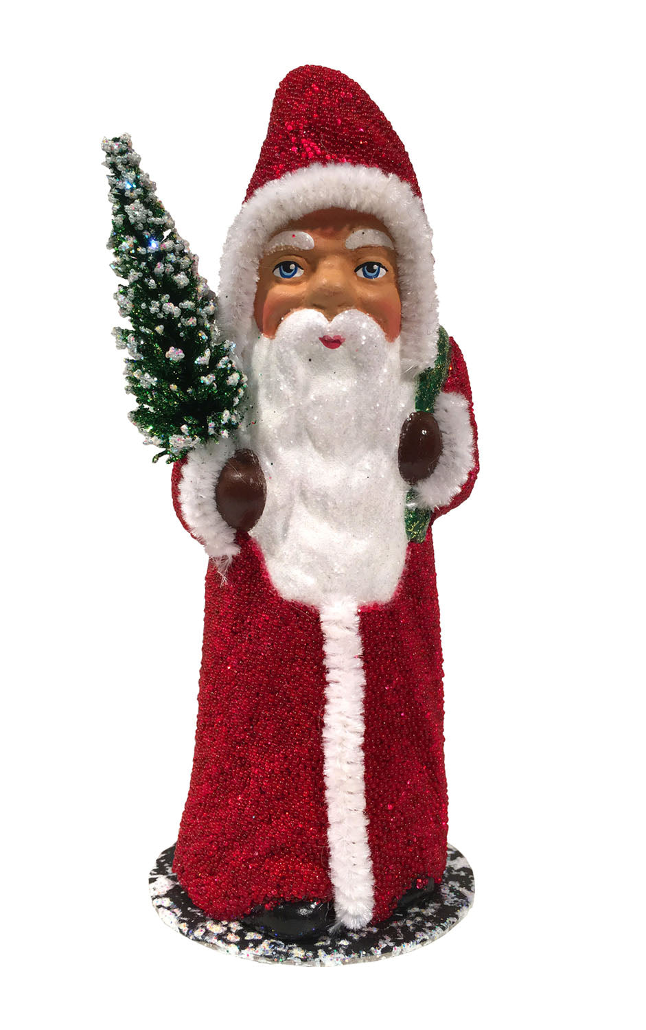 Alexander Taron Decorative Collectibles Schaller Paper Mache Candy Container - Santa Red Beaded Coat