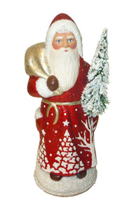 Alexander Taron Decorative Collectibles Schaller Paper Mache Candy Container - Santa Beaded Red