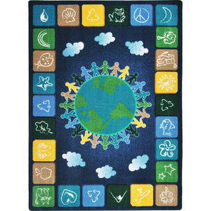 "Kid Essentials - Geography and Environment One World - Neutrals - 7'8"" x 10'9"" - Rectangle"