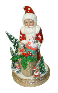 Alexander Taron Decorative Collectibles Schaller Paper Mache Candy Container - Santa Red with Gifts