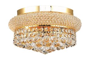Elegant Lighting 1800F12G/RC Primo Collection 4-Light Flush Mount Royal Cut Crystals with Gold Finish