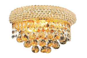 Elegant Lighting 1800W12G/RC Primo 6-Inch High 2-Light Wall Sconce, Gold Finish with Crystal (Clear) Royal Cut RC Crystal