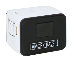 Amor For Travel Industro Travel Adapter, White,Black