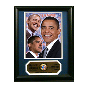 "Barack Obama Photograph with Commemorative Photograph Mint Quarter in an 12"" x 18"" Deluxe Photograph Frame"