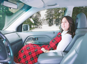 "MAXSA 20014 Large Heated Travel Blanket for In-Vehicle Usage with 12-Volt Car Adapter and Safety Timer (41"" x 57""), Red Plaid"