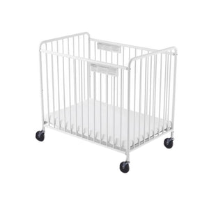 "Chelsea Steel Child Care Crib (Non-Folding)  Slatted 4"" Casters - White"