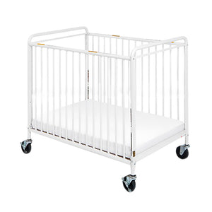 "Chelsea Steel Child Care Crib (Non-Folding)  Clearview, 4"" Casters - White"