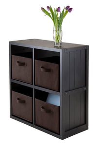 Winsome 2 x 2 Storage Cube Wooden Wainscoting Panel Shelf 5-Pc With 4 Chocolate Fabric Baskets