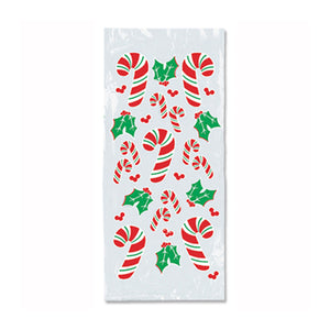 Candy Cane & Holly Cello Bags 4in. x 9in. x 2in. (25/pkg) Pkg/12