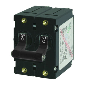 Blue Sea Systems A-Series Black Toggle Double Pole 20A Circuit Breaker