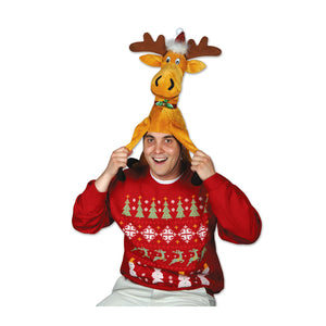 Plush Christmas Moose Hat (1 Count) (1/pkg) Pkg/6