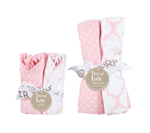 Trend Lab Pink Sky 4 Pack Bib and 4 Pack Burp Cloth Set